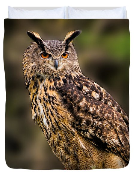 Eurasian Eagle Owl Perched On A Post Duvet Cover