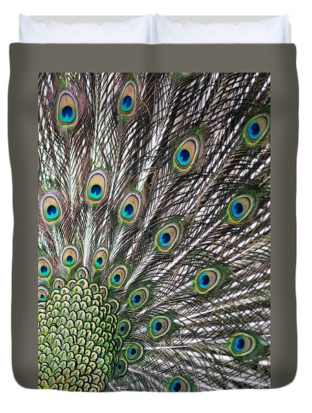 Feathers Of The Green Peafowl Duvet Cover