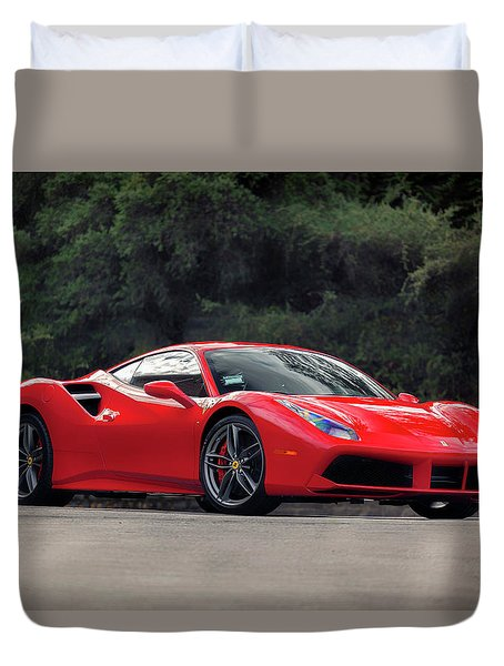 Duvet Cover featuring the photograph #ferrari #488gtb by ItzKirb Photography