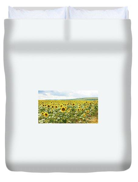 Field With Sunflowers Duvet Cover by Irina Afonskaya
