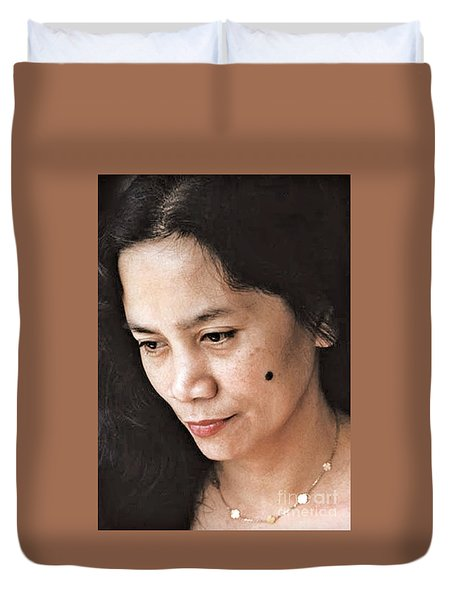 Filipina Beauty With A Mole On Her Cheek Duvet Cover by Jim Fitzpatrick