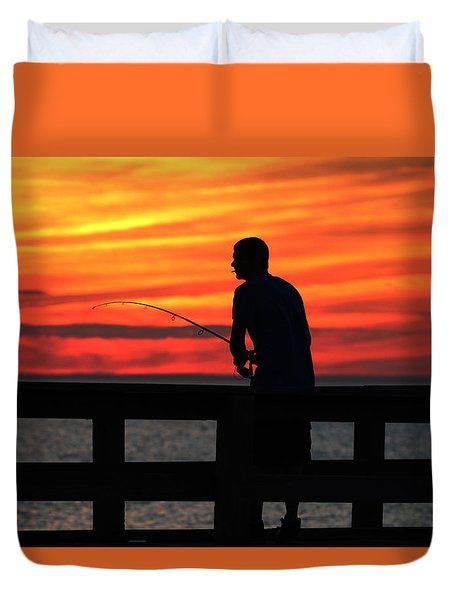 Fishing Pier Mount Sinai New York  Duvet Cover