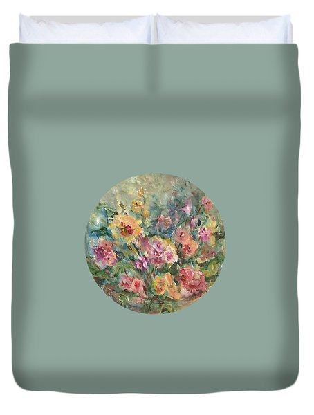 Duvet Cover featuring the painting Floral Painting by Mary Wolf