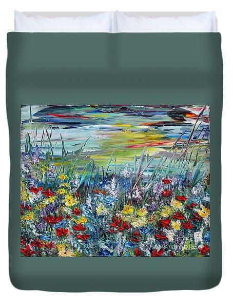 Duvet Cover featuring the painting Flower Field by Teresa Wegrzyn