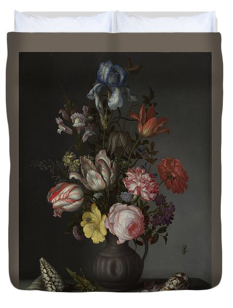 Flowers In A Vase With Shells And Insects Duvet Cover