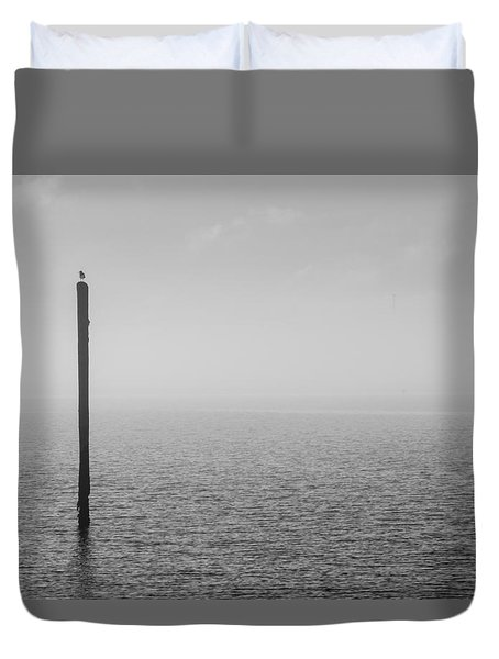 Fog On The Cape Fear River Duvet Cover