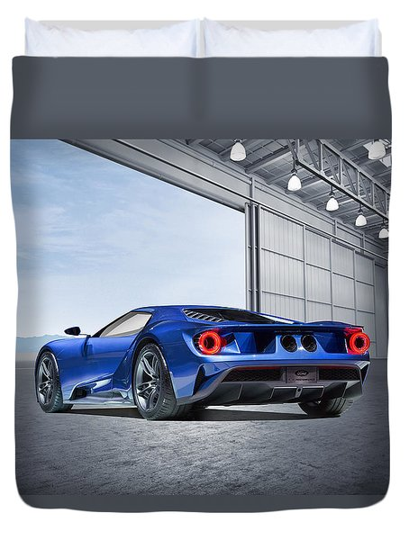 Duvet Cover featuring the digital art Ford Gt by Peter Chilelli