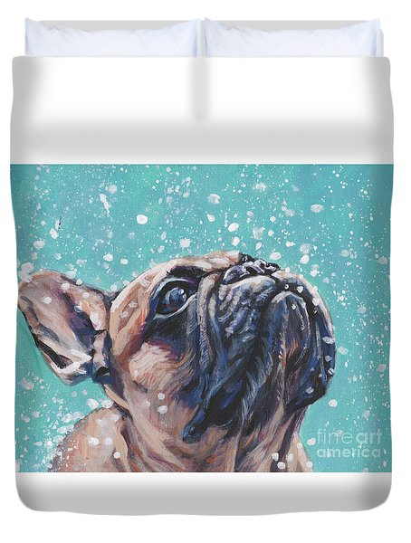 Duvet Cover featuring the painting French Bulldog by Lee Ann Shepard