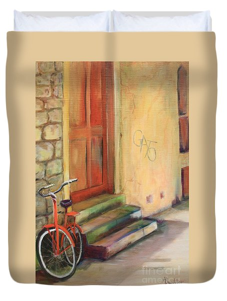 Duvet Cover featuring the painting Gato by Anne Dentler
