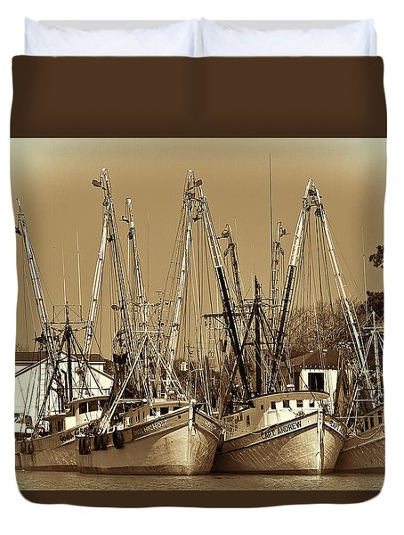 Georgetown Shrimpers Duvet Cover by Bill Barber