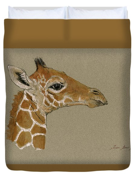 Giraffe Head Study  Duvet Cover by Juan  Bosco