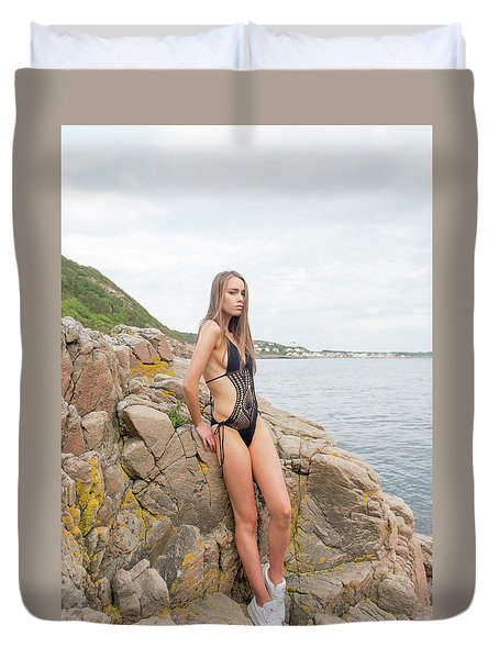 Girl In Black Swimsuit Duvet Cover