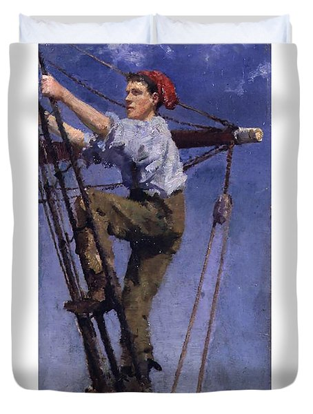 Duvet Cover featuring the painting Going Aloft by Henry Scott Tuke
