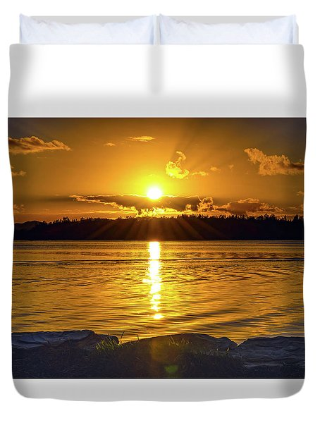 Golden Sunrise Waterscape Duvet Cover