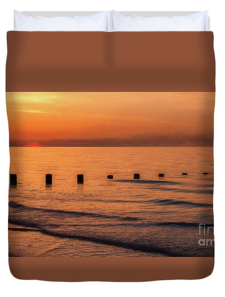 Duvet Cover featuring the photograph Golden Sunset by Adrian Evans