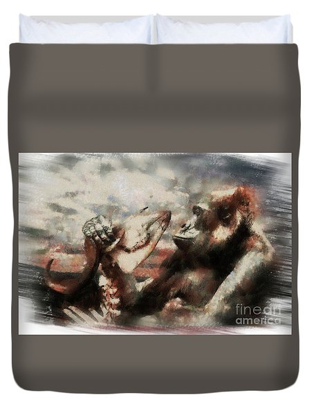 Duvet Cover featuring the photograph Gorilla  by Christine Sponchia