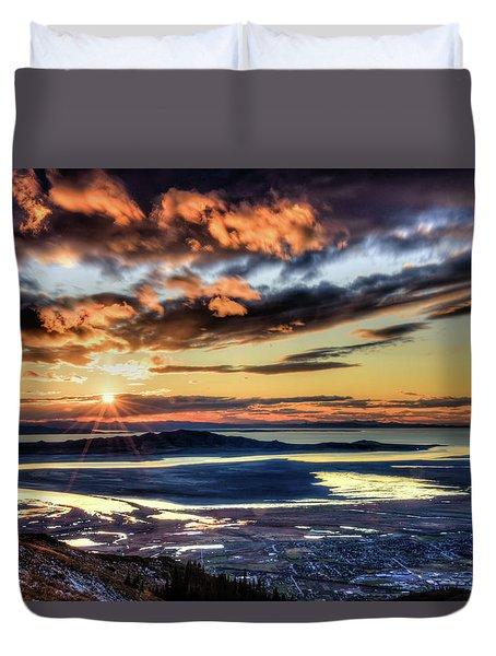 Great Salt Lake Sunset Duvet Cover