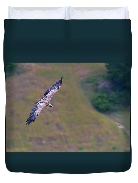 Griffon Vulture Flying, Drome Provencale, France Duvet Cover