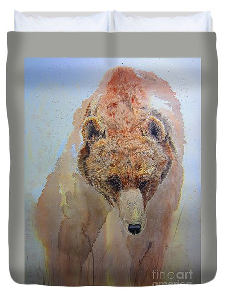Duvet Cover featuring the painting Grizzly by Laurianna Taylor
