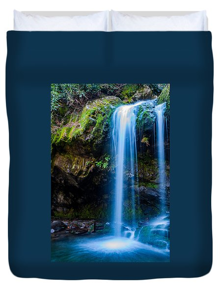 Duvet Cover featuring the photograph Grotto Falls by Jay Stockhaus