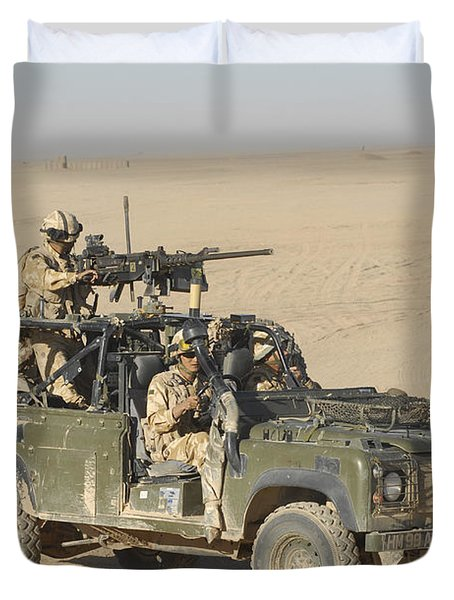 Gurkhas Patrol Afghanistan In A Land Duvet Cover by Andrew Chittock