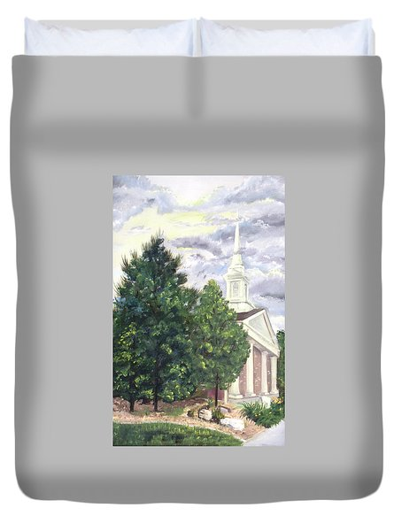 Duvet Cover featuring the painting Hale Street Chapel by Jane Autry