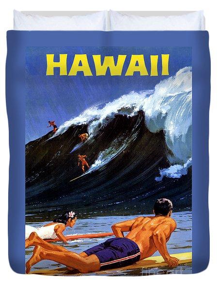 Hawaii Vintage Travel Poster Restored Duvet Cover