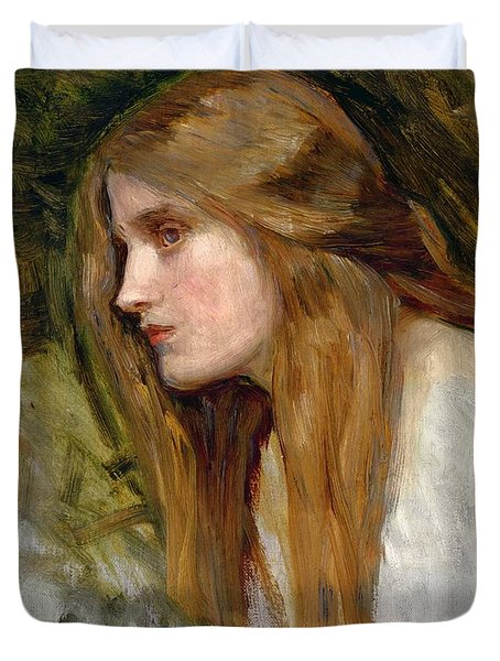 Head Of A Girl Duvet Cover by John William Waterhouse