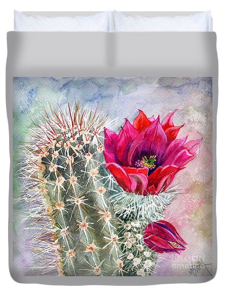 Hedgehog Cactus Duvet Cover by Marilyn Smith