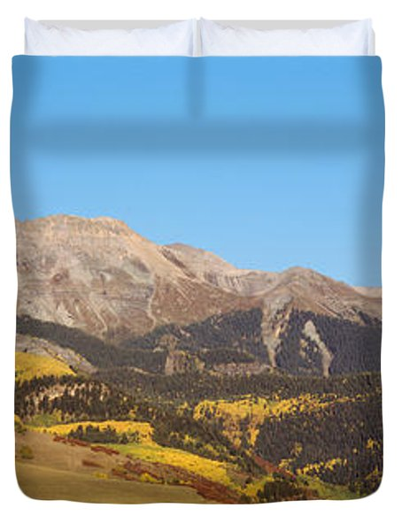 High Angle View Of A Mountain Range Duvet Cover