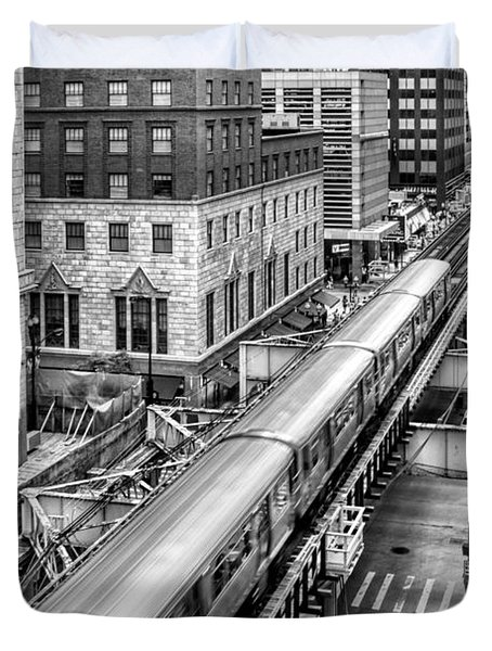 Historic Chicago El Train Black And White Duvet Cover