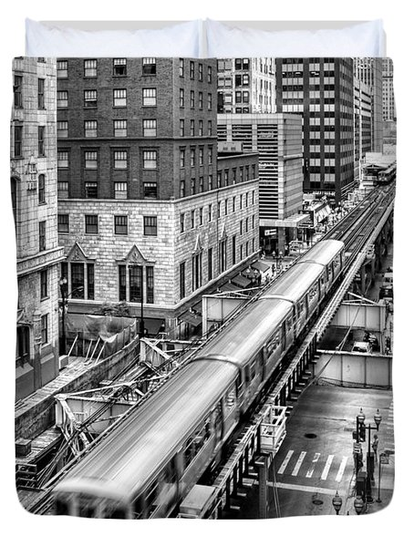 Historic Chicago El Train Black And White Duvet Cover by Christopher Arndt