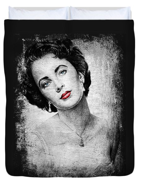 Hollywood Greats Elizabeth Taylor Duvet Cover by Andrew Read