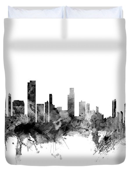 Honolulu Hawaii Skyline Duvet Cover