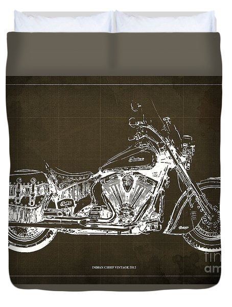 Indian Chief Vintage 2012 Blueprint Duvet Cover