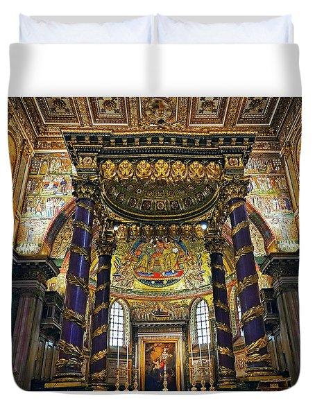 Interior View Of The Basilica Di Santa Maria Maggiore In Rome Italy Duvet Cover