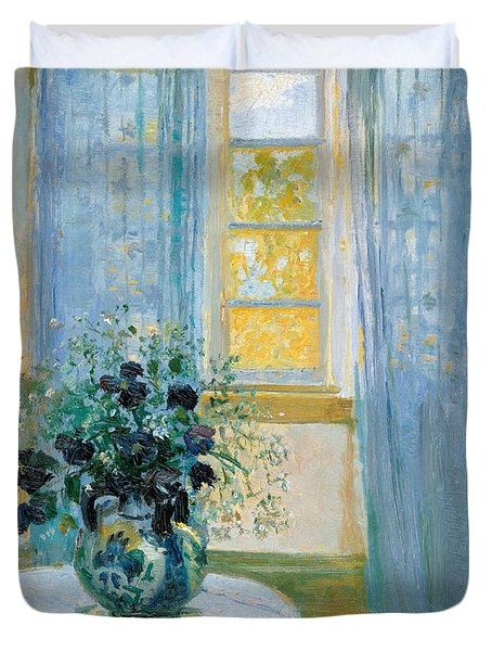 Interior With Clematis Duvet Cover by Anna Ancher