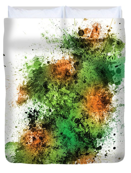Ireland Map Paint Splashes Duvet Cover by Michael Tompsett