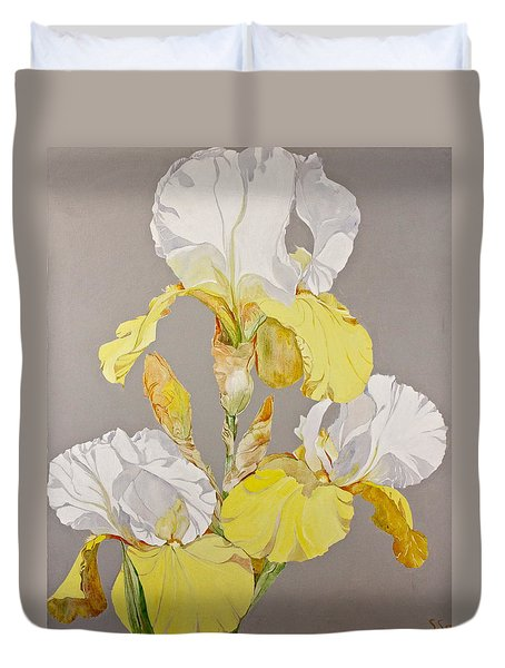Duvet Cover featuring the painting Irises-posthumously Presented Paintings Of Sachi Spohn  by Cliff Spohn