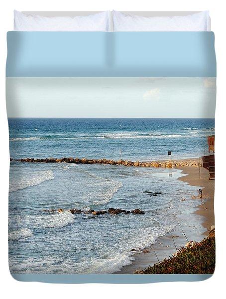 Jaffa Beach 7 Duvet Cover by Isam Awad