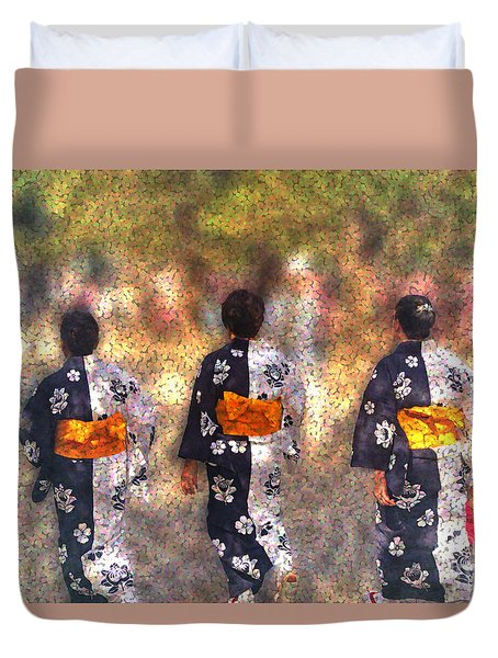 Duvet Cover featuring the digital art Jidai Matsuri by Cassandra Buckley