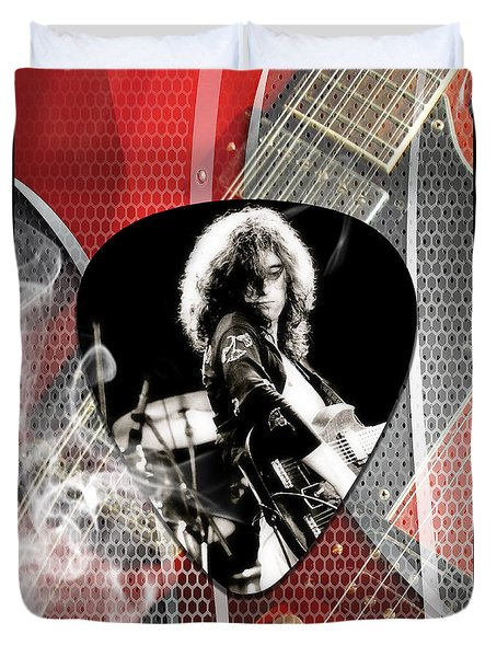 Jimmy Page Art Duvet Cover by Marvin Blaine