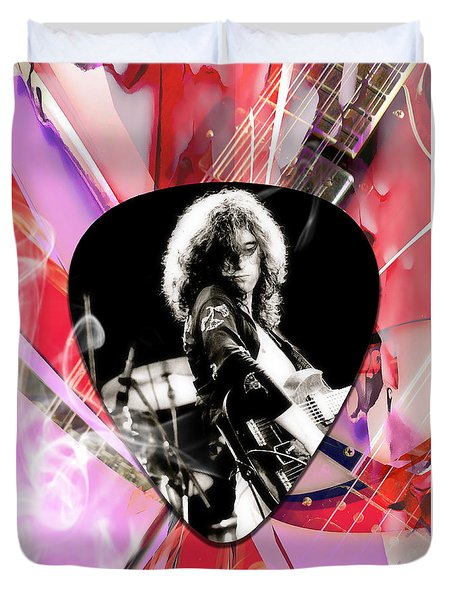 Jimmy Page Led Zeppelin Art Duvet Cover by Marvin Blaine