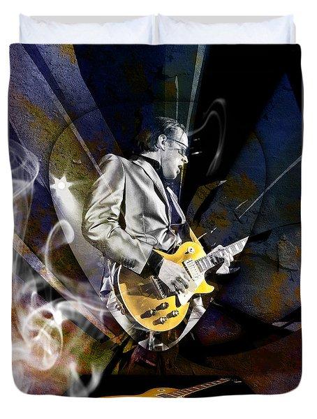 Joe Bonamassa Blue Guitarist Art Duvet Cover by Marvin Blaine