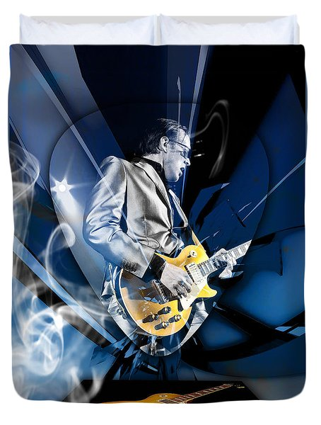 Joe Bonamassa Blues Guitarist Art Duvet Cover by Marvin Blaine