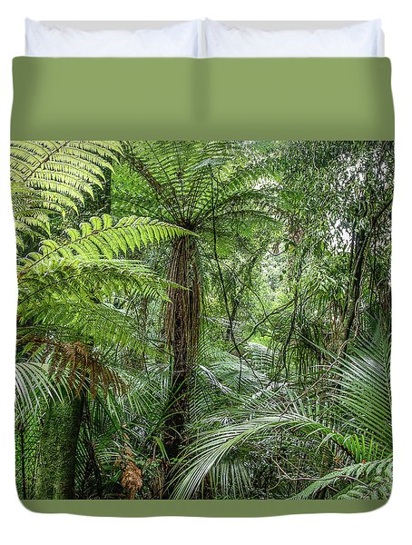 Duvet Cover featuring the photograph Jungle Ferns by Les Cunliffe