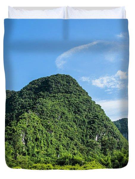 Karst Mountains Scenery Duvet Cover