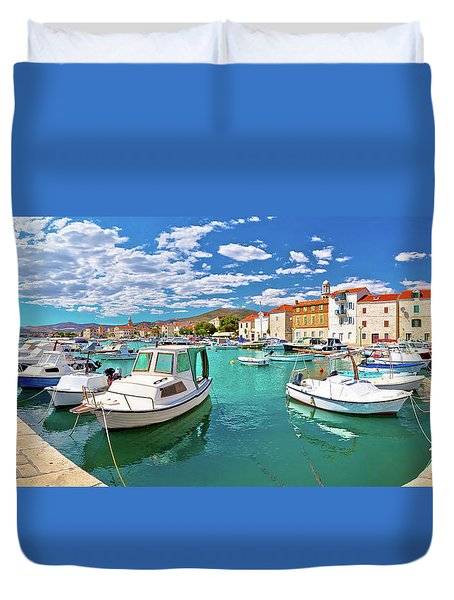 Kastel Novi Turquoise Harbor And Historic Architecture Panoramic Duvet Cover