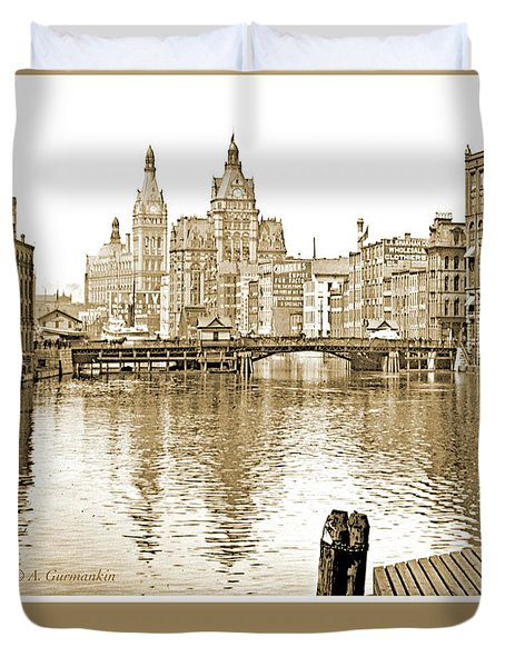 Kilbourn Avenue Bridge, Milwaukee River, C.1915, Vintage Photogr Duvet Cover