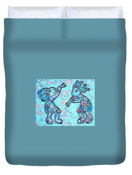 2 Kokopellis In Turquoise Duvet Cover